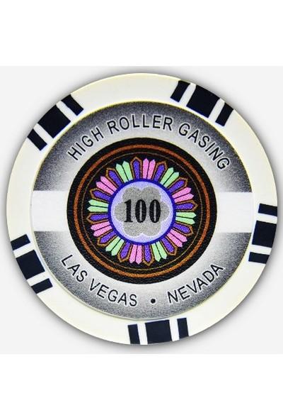 Gabriels Game High Roller 100'lük 25 Adet Oyun Çipi (Las Vegas Nevada 11,5 gr Clay Oyun Fişi, Oyun Chipi)