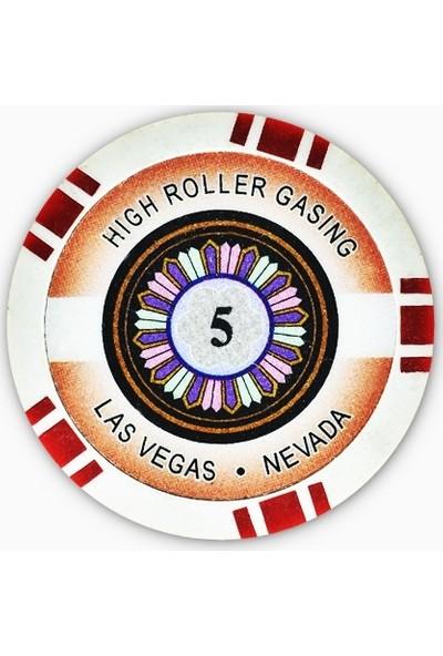 Gabriels Game High Roller 5'lik 25 Adet Oyun Çipi (Las Vegas Nevada 11,5 gr Clay Oyun Fişi, Oyun Chipi)