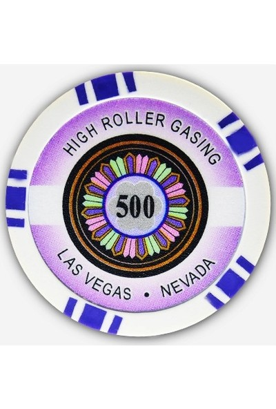 Gabriels Game High Roller 500'lük 25 Adet Oyun Çipi (Las Vegas Nevada 11,5 gr Clay Oyun Fişi, Oyun Chipi)