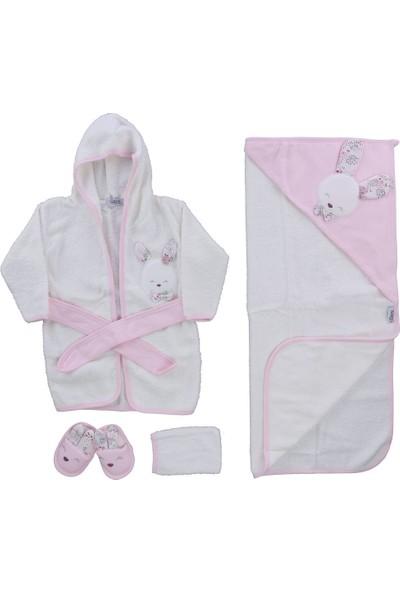 Gaye Kız Bebek Sevimli Tavşan Havlu Bornoz Takımı