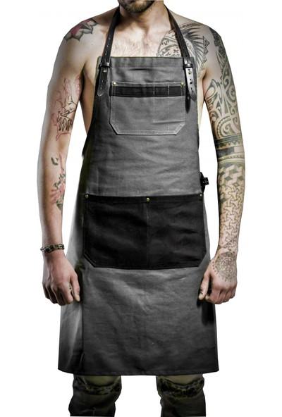 Medusa Forma Nakışlı Boyundan Askılı Önlük Cafe Restaurant Şef Garson Aşçı Kuaför Sanat Tattoo Barista Önlüğü