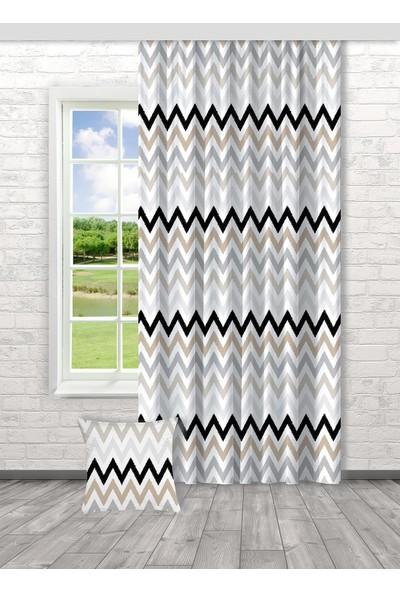 Bella Home Geometrik Desenli Dijital Baskılı Fon Perde