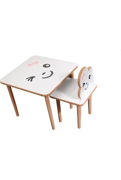 Renk Mobilya Ahşap Çocuk Masa Sandalye Takımı