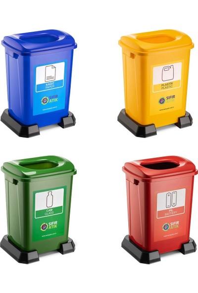Şenyayla Sıfır Atık Geri Dönüşüm Çöp Kutusu Kovası 50 lt 4'lü Set