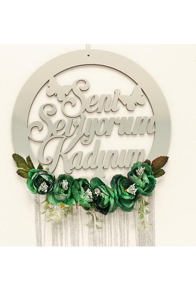 Meşgalem Aynalı Yeşil Çiçekli Bebek Odası Kapı Süsü Pleksi