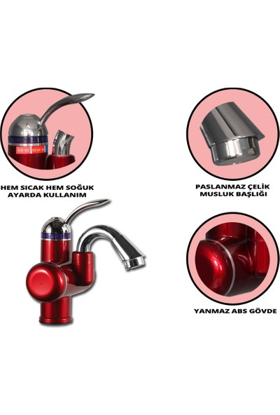 Sıcak Musluk Elektrikli Sıcak Musluk Ani Su Isıtıcı Termal Şofben Musluk