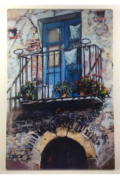 Fevito Mavi Pencere Yağlı Boya Görünümlü Tablo 25 x 17 cm