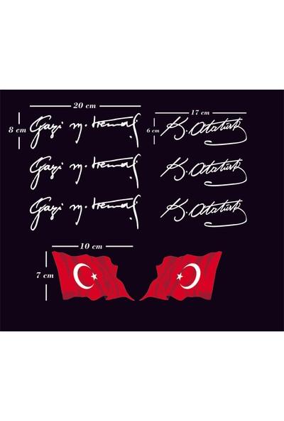 Areksan Reklam Üçlü Beyaz Renk Atatürk Imza ve Ikili Türk Bayrağı Sticker Set