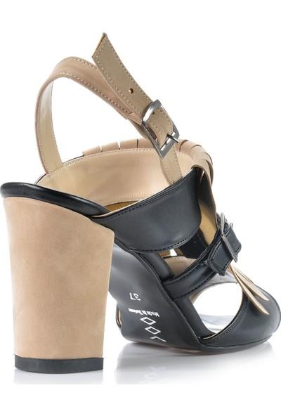 Vizon Ayakkabı Kadın Siyah-Bej Klasik Topuklu Ayakkabı VZN-159Y