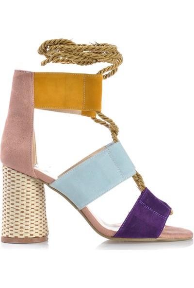 Vizon Ayakkabı Kadın Mor-Süet Klasik Topuklu Ayakkabı VZN-191Y