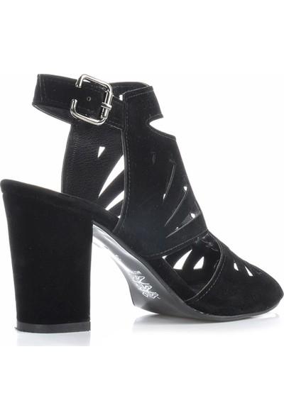 Vizon Ayakkabı Kadın Siyah-Süet Klasik Topuklu Ayakkabı VZN-229Y