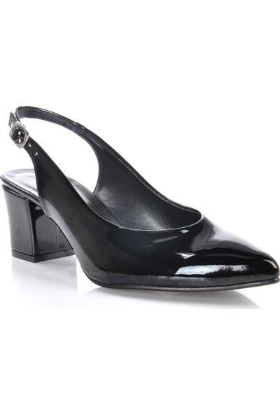 Vizon Ayakkabı Kadın Siyah-Rugan Klasik Topuklu Ayakkabı VZN-233Y