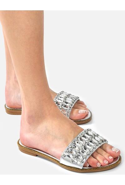 Vizon Ayakkabı Kadın Gümüş Terlik VZN-246Y