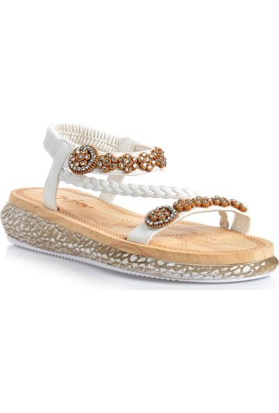 Vizon Ayakkabı Kadın Beyaz Sandalet VZN-247Y