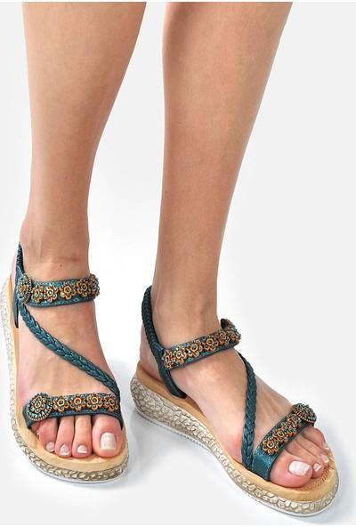 Vizon Ayakkabı Kadın Yeşil Sandalet VZN-247Y