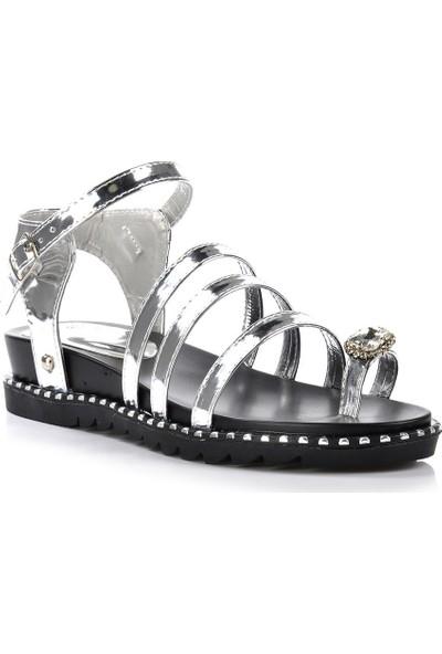 Vizon Ayakkabı Kadın Gümüş Sandalet VZN-249Y