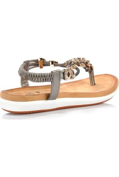 Vizon Ayakkabı Kadın Gri Sandalet VZN-253Y