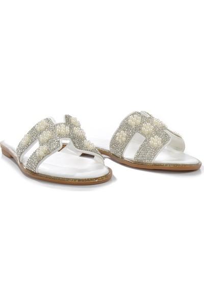 Vizon Ayakkabı Kadın Beyaz Terlik VZN-266Y