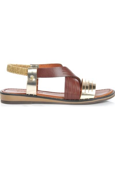 Vizon Ayakkabı Kadın Taba Sandalet VZN-267Y