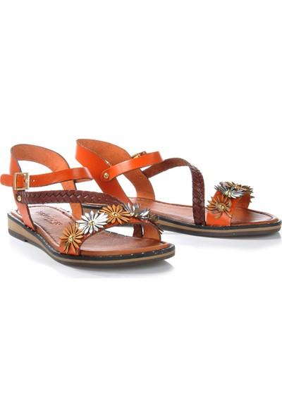 Vizon Ayakkabı Kadın Turuncu Sandalet VZN-278Y
