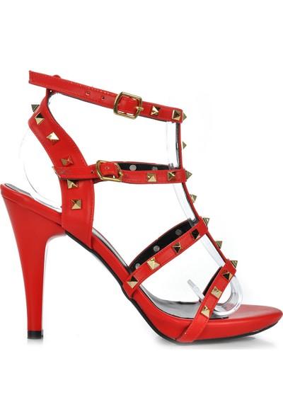 Vizon Ayakkabı Kadın Kırmızı Klasik Topuklu Ayakkabı VZN-281Y