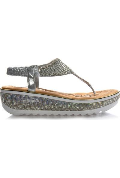 Vizon Ayakkabı Kadın Gümüş Sandalet VZN-317Y