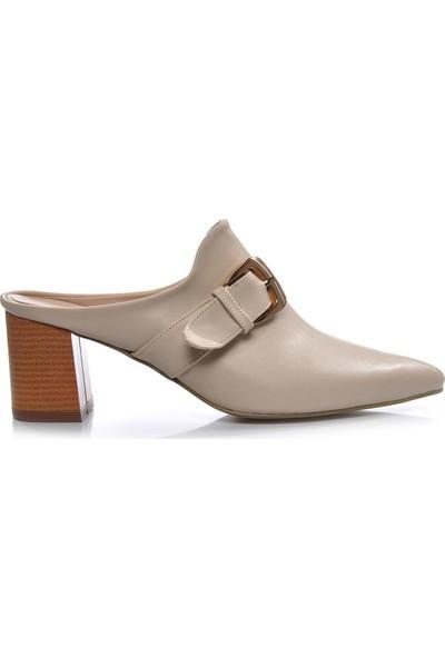 Vizon Ayakkabı Kadın Krem Terlik VZN-323Y