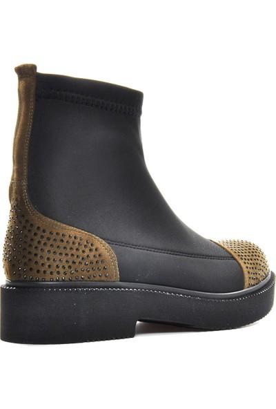 Vizon Ayakkabı Kadın Siyah-Haki Bot VZN19-001K