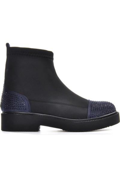 Vizon Ayakkabı Kadın Siyah-Lacivert Bot VZN19-001K