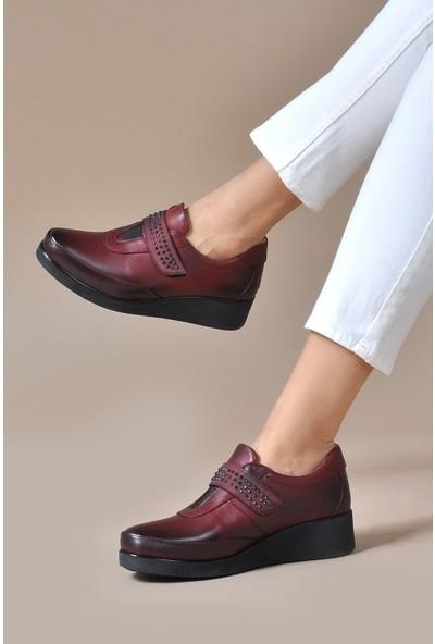 Vizon Ayakkabı Kadın Bordo Günlük Ayakkabı VZN19-012K