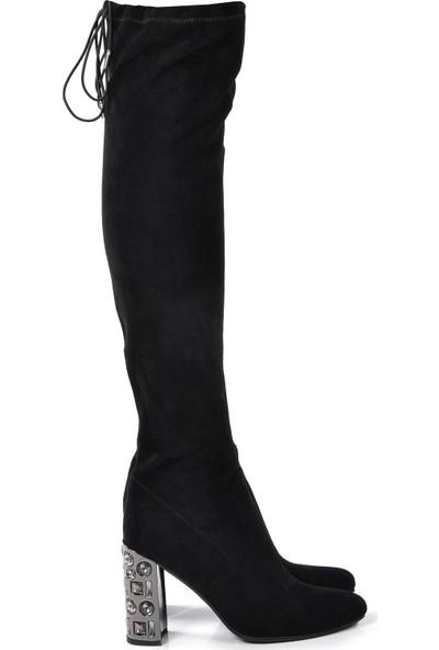 Vizon Ayakkabı Kadın Siyah-Süet Çizme VZN19-023K