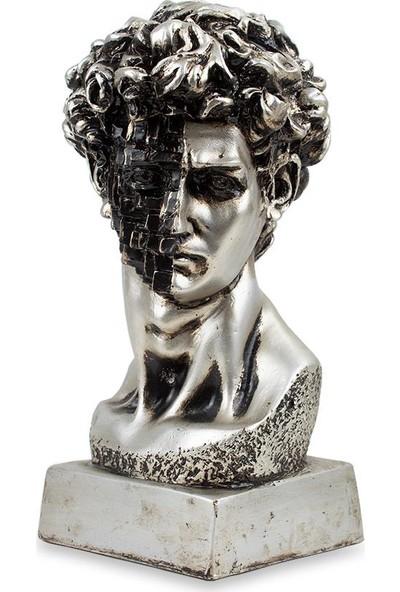 Çiçekmisin Sezar Büst Dekoratif Biblo - Metalik