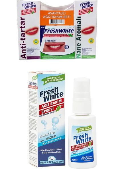 Fresh White Ağız Kokusu Giderici Naneli Sprey + 3'lü Diş Beyazlatıcı Bakım Seti