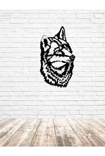 İdeal Tasarim Ev Dekorasyon Lazer Kesim Metal Tablo Kurt Kafası
