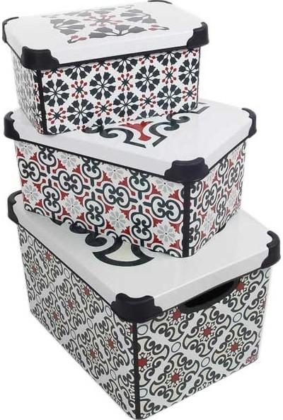 Qutu Style Box Portuguese 3 Set Dekoratif Saklama Kutusu
