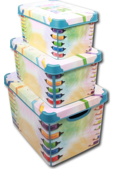 Qutu Style Box Back To School - 3lü Set Dekoratif Saklama Kutusu