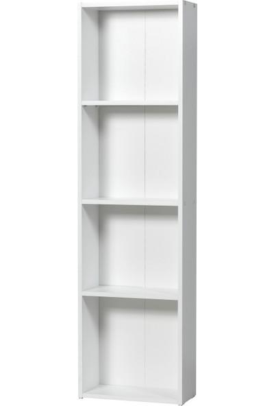 Dienni Beyaz 4 Raflı Kitaplık