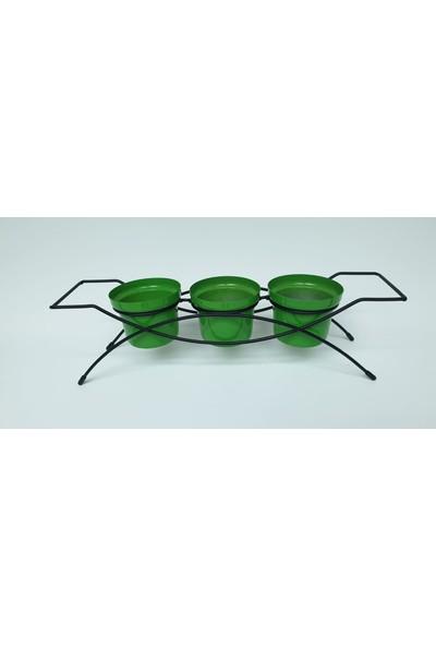Desen Dekorasyon Üçlü Saksı Yeşil Renk