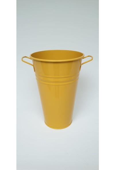 Desen Dekorasyon Galvaniz Vazo Sarı Renk