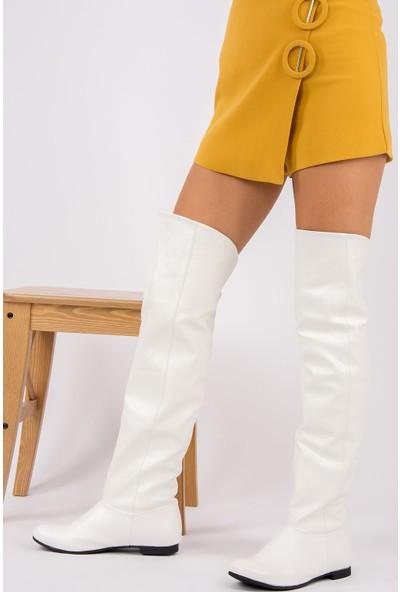 Fox Shoes BeyazSiyah Kadın Çizme 8248025909