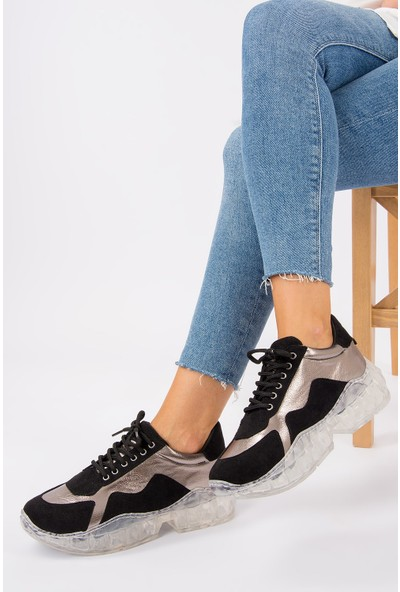 Fox Shoes SiyahPlatin Kadın Sneakers G270565002