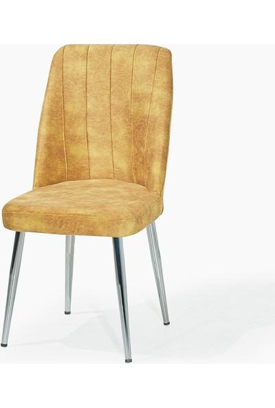 Laçes House Metal Ayaklı Masa Sandalyesi 1.inci Sınıf Kumaş Ev-23