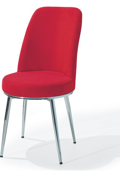 Laçes House Metal Ayaklı Masa Sandalyesi Birinci Sınıf Kumaş Erv-05 Kırmızı Gold