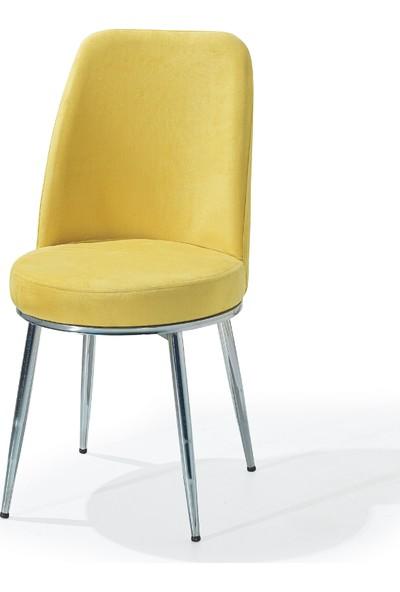 Laçes House Metal Ayaklı Masa Sandalyesi Birinci Sınıf Kumaş Erv-01 Sarı Gold