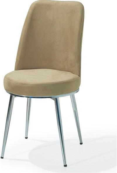Laçes House Metal Ayaklı Masa Sandalyesi Birinci Sınıf Kumaş Erv-03 Cappucino Gold