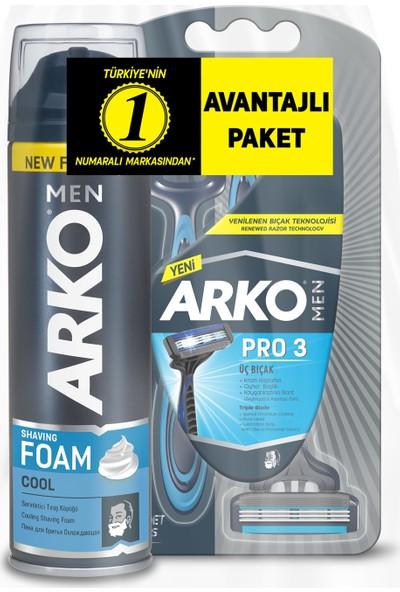 Arko Men T3 Pro 3 Bıçaklı Tıraş Bıçağı 3'lü & Cool Tıraş Köpüğü 200 ml Avantaj Paketi