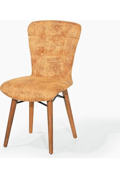 Laçes House Ceviz Ayaklı 1.sınıf Kumaş Masa Sandalyesi Ev-22