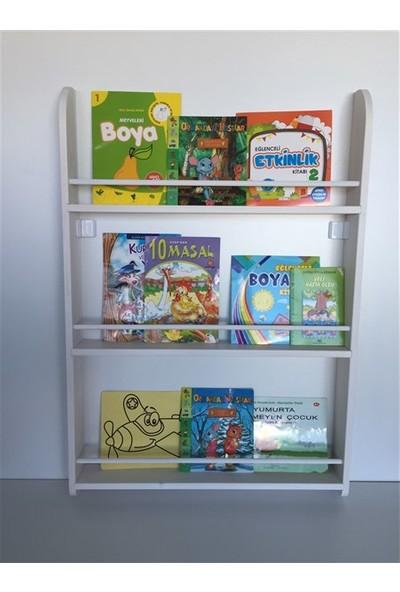 Şahin Mobilya Çocuk Odası Ahşap 3 Raflı Montessori Kitaplık Eskitme Beyaz 100X70 cm
