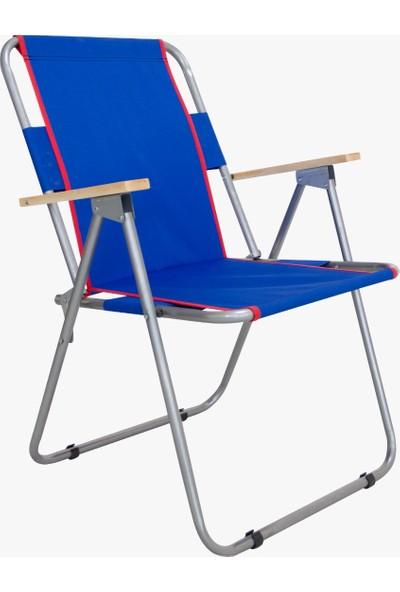 Piknik Dünyası Ahşap Kollu Katlanır Plaj Piknik & Kamp Sandalyesi Mavi