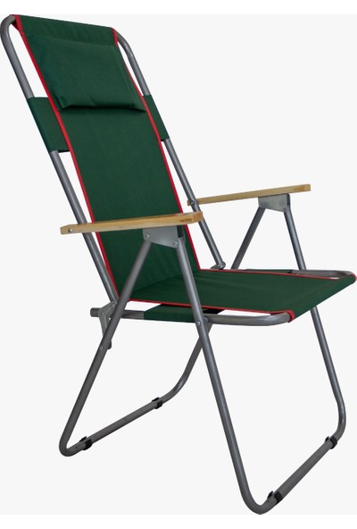Piknik Dünyası Uzun Arkalık Ahşap Kollu Katlanır Plaj Piknik & Kamp Sandalyesi Yeşil
